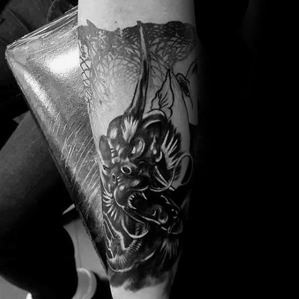 Forearm Sleeve Black And Shaded Chinese Dragon Mens Tattoos