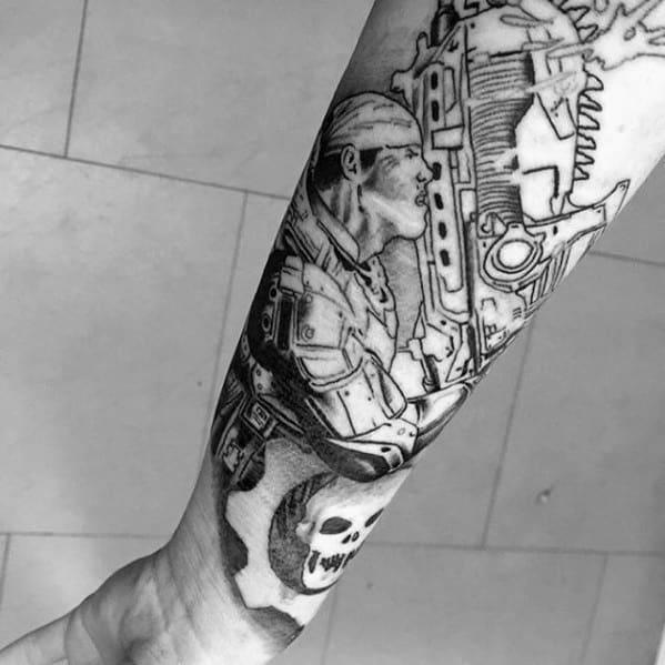 Forearm Sleeve Black Ink Gears Of War Guys Tattoo Ideas
