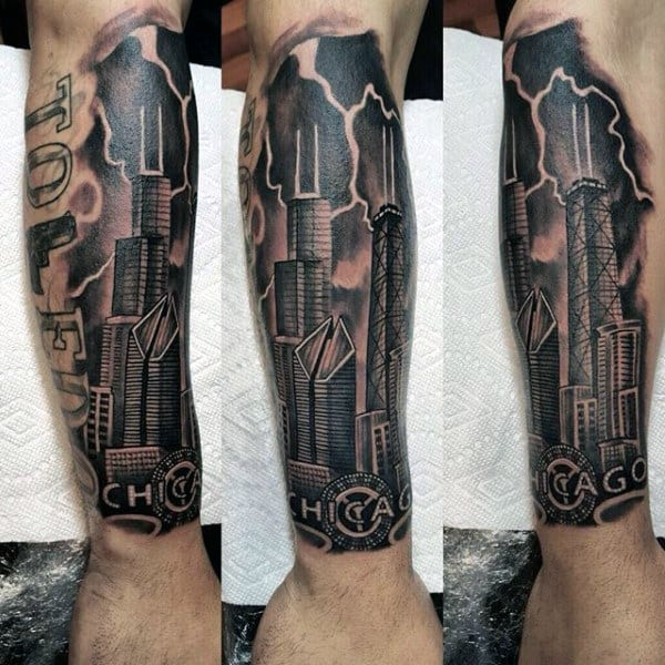 20 chicago skyline tattoo designs for men urban center ink for All city tattoo