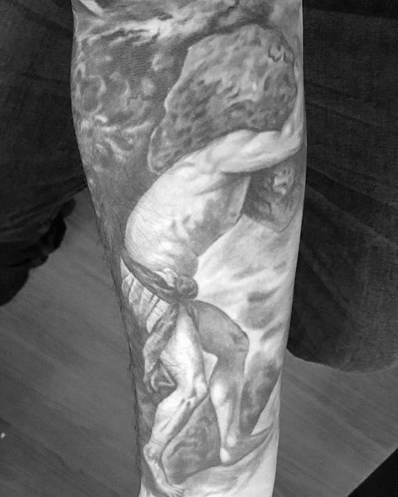 Forearm Sleeve Cool Male Sisyphus Tattoo Designs