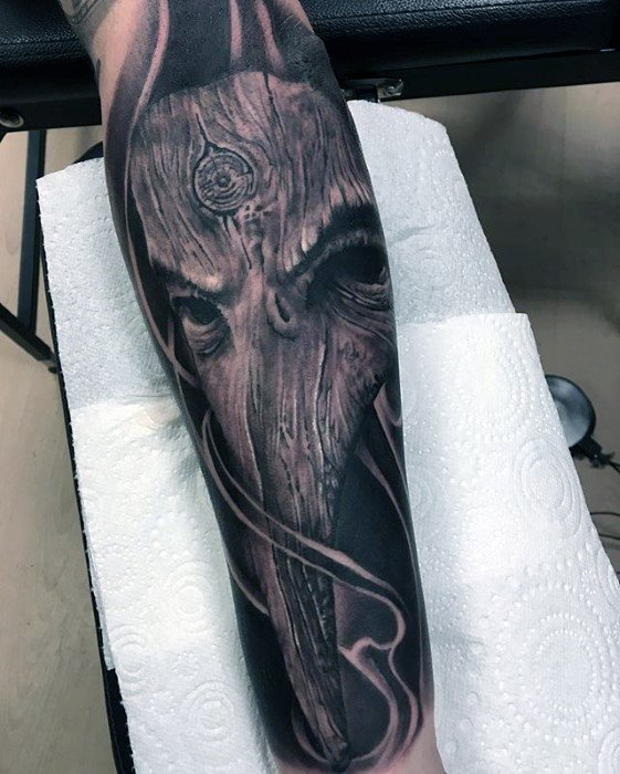 Forearm Sleeve Cool Plague Doctor Tattoo Design Ideas For Male