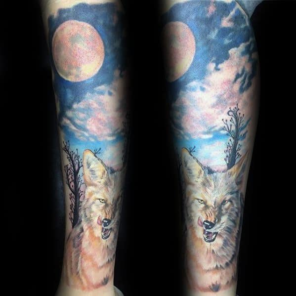 Forearm Sleeve Coyote Tattoo Design Ideas For Males