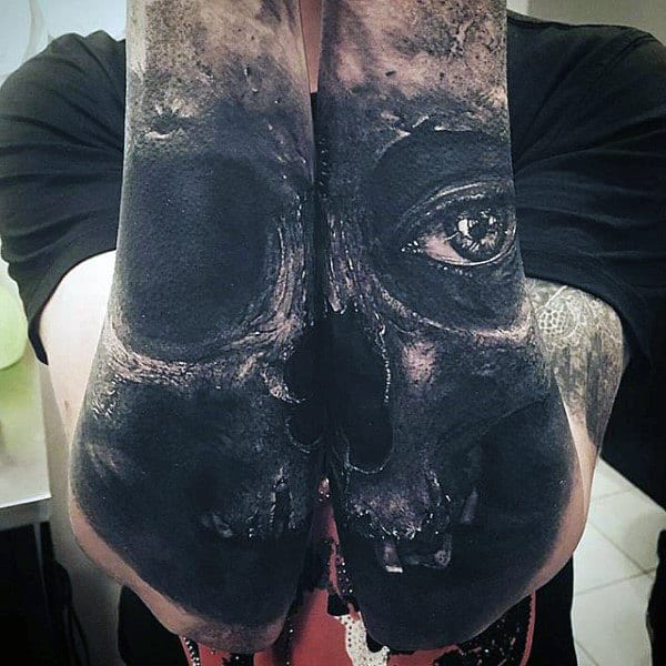 Forearm Sleeve Crazy Realistic Skull Tattoos On Man