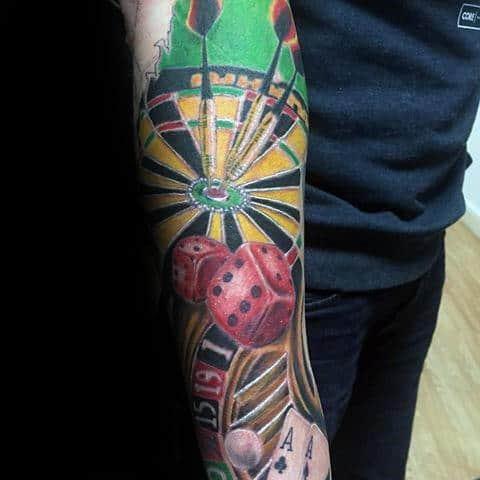 Forearm Sleeve Dart Themed Guys Tattoos