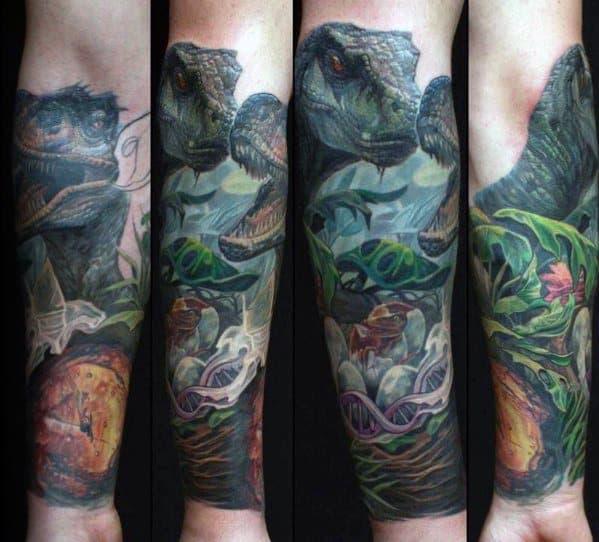 Forearm Sleeve Dinosaur Themed Jurassic Park Tattoos For Gentlemen