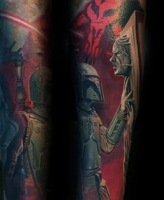 Forearm Sleeve Frozen Han Solo Tattoo Design Ideas For Males