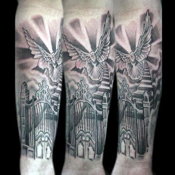 Forearm Sleeve Gates Of Heaven Tattoo Designs For Males