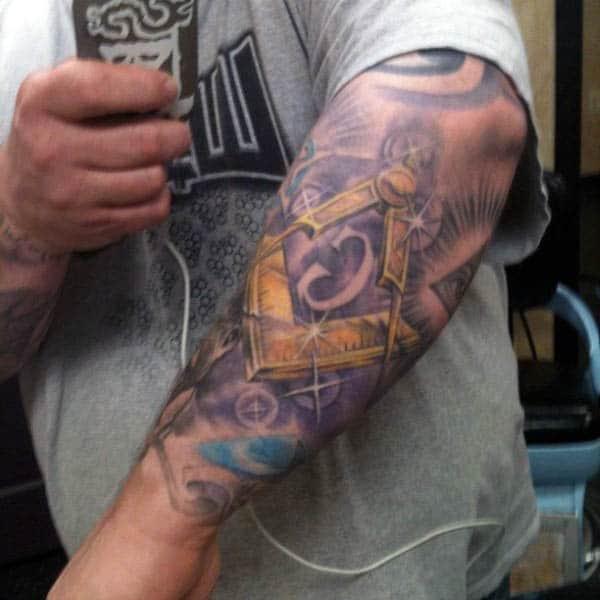 Forearm Sleeve Gold Masonic Mens Tattoos