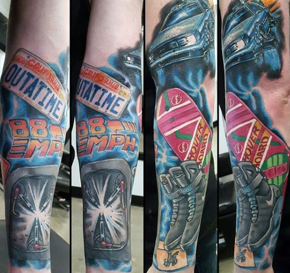 Forearm Sleeve Guys Back To The Future Themed Tattoo Deas