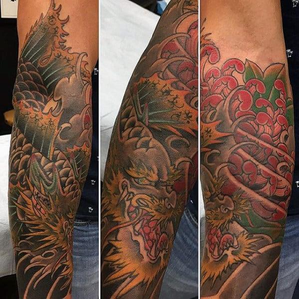 Forearm Sleeve Guys Koi Dragon Tattoo
