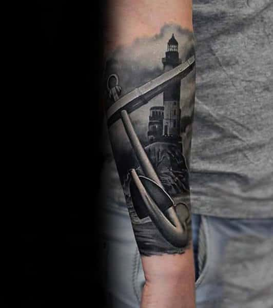 Forearm Sleeve Guys Realistic Anchor And Lighthouse 3d Tattoo