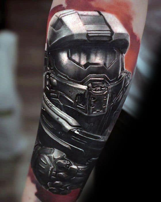Forearm Sleeve Halo Cool Male Gamer Tattoo Designs