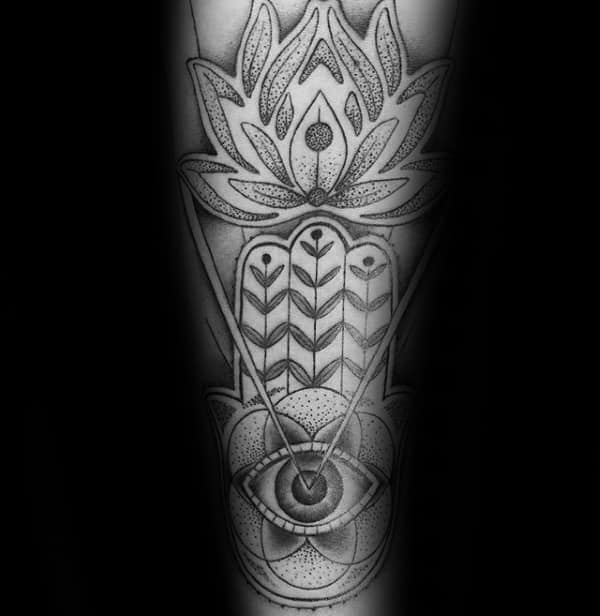 Forearm Sleeve Hamsa All Seeing Eye With Flower Mens Tattoos