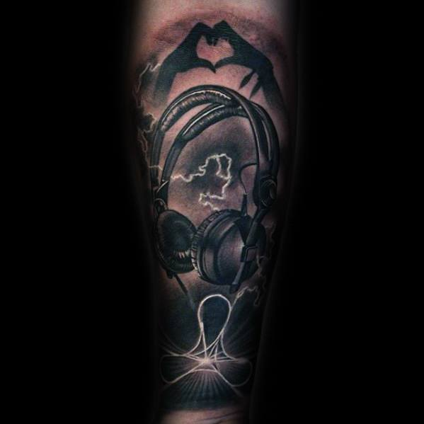 Forearm Sleeve Headphones Tattoo Ideas On Guys