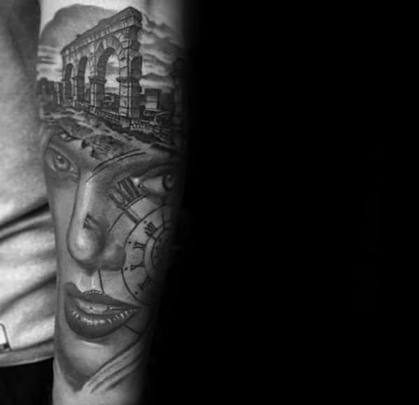 Forearm Sleeve Heavily Shaded Morph Tattoo Designs For Guys