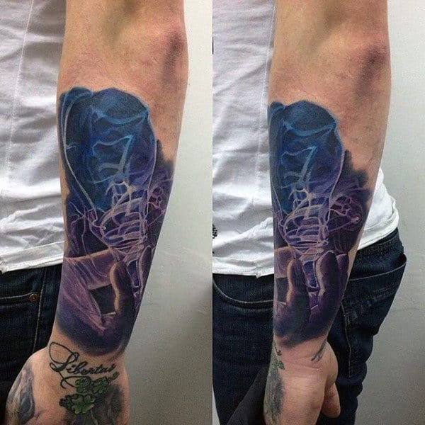 Forearm Sleeve Insane Mens Light Bulb Smoke Tattoo Design Ideas