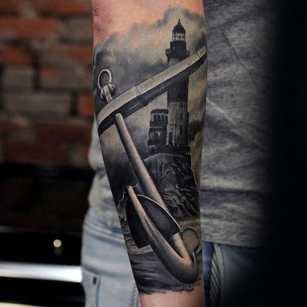 Forearm Sleeve Insane Realistic 3d Anchor With Lighthouse Male Tattoos