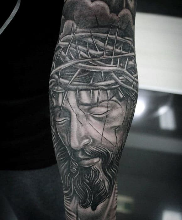 Forearm Sleeve Jesus Crown Of Thorn Christian Tattoos For Guys