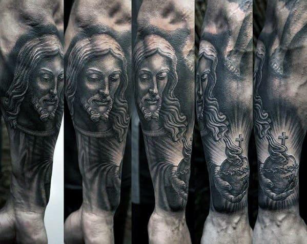 Forearm Sleeve Jesus Sacred Heart Tattoo On Gentleman