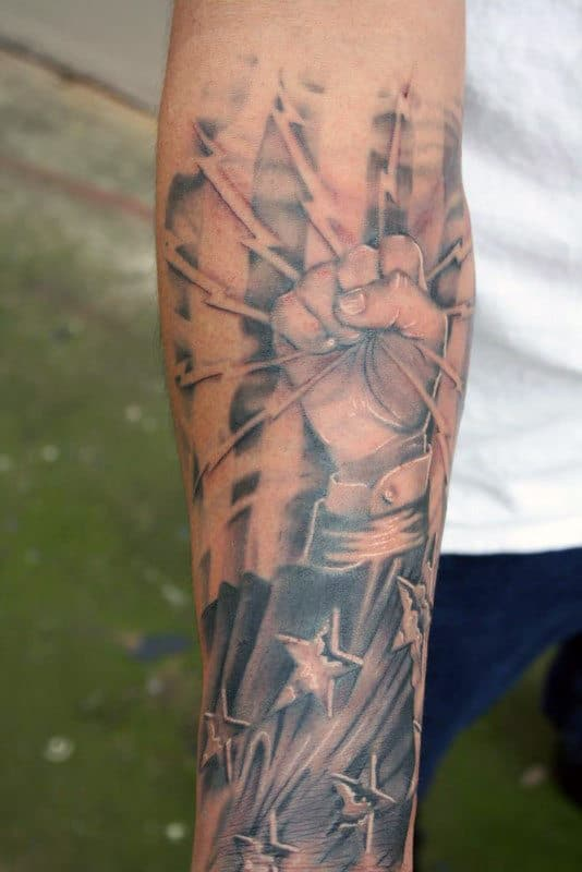 Forearm Sleeve Lineman Mens Tattoos