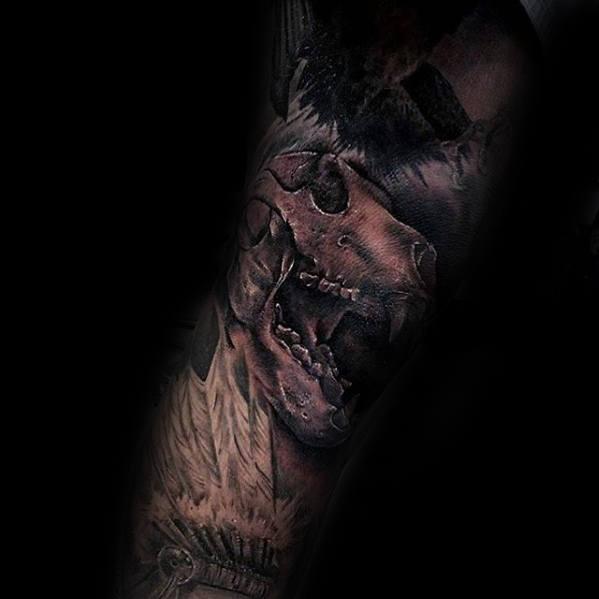 Forearm Sleeve Male Bear Skull Shaded Tattoo Designs