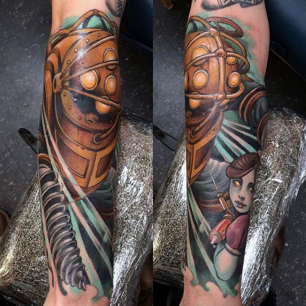 Forearm Sleeve Male Bioshock Tattoos