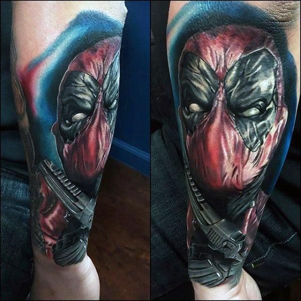 Forearm Sleeve Male Deadpool Tattoos