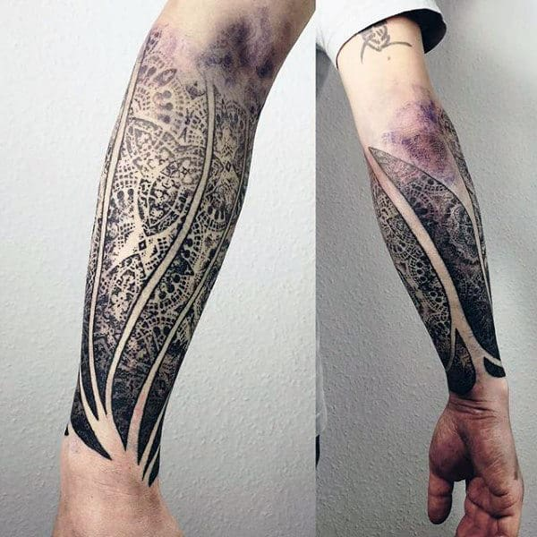 Forearm Sleeve Male Factal Tattoo With Negative Space Design