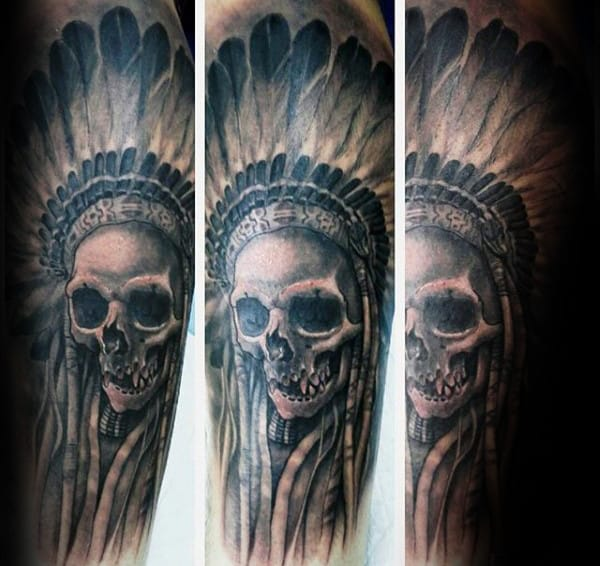 Forearm Sleeve Male Indian Skull Tattoo Ideas
