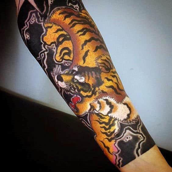 Forearm Sleeve Male Japanese Tiger Tattoo Ideas