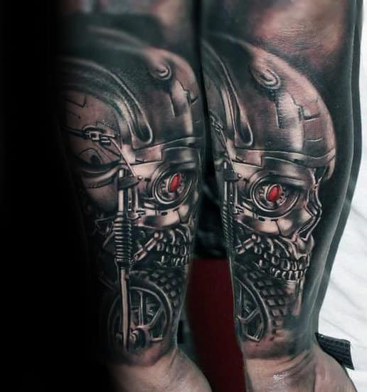 Forearm Sleeve Male Shaded Terminator Cyborg Tattoo Ideas