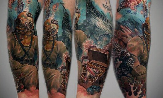 Forearm Sleeve Male Shipwreck Underwater Tattoo Designs