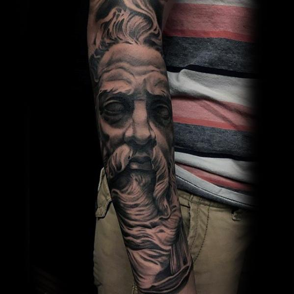 Forearm Sleeve Male Socrates Portrait Tattoo Ideas