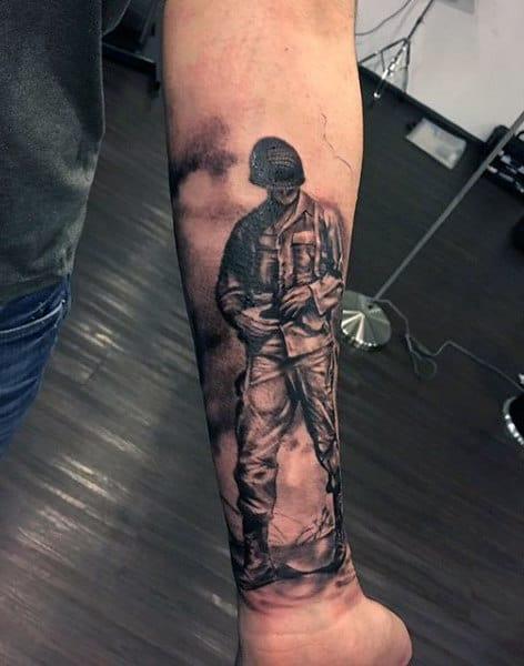 Forearm Sleeve Male Tattoo Of Shaded Black And Grey Ink Army Solider