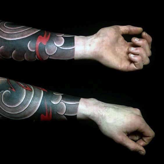 Forearm Sleeve Manly Guys Japanese Cloud Tattoo Design Inspiration