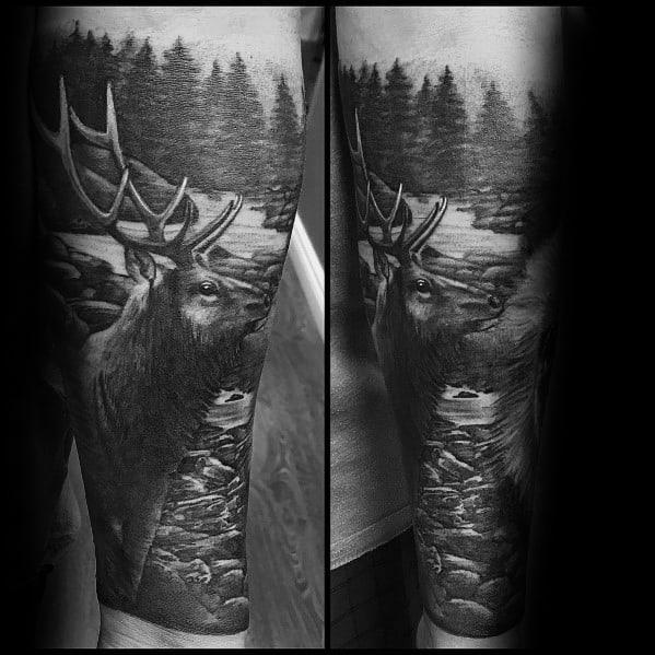 Forearm Sleeve Mens 3d Realistic Elk Tattoos