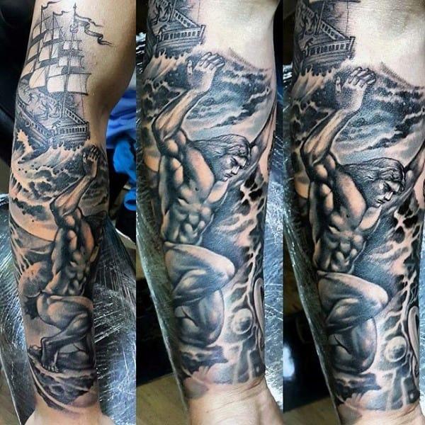 Forearm Sleeve Mens Atlas Tattoo Ideas