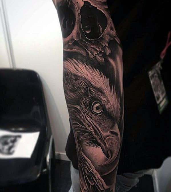 Forearm Sleeve Mens Badass Bald Eagle With Skull Tattoo