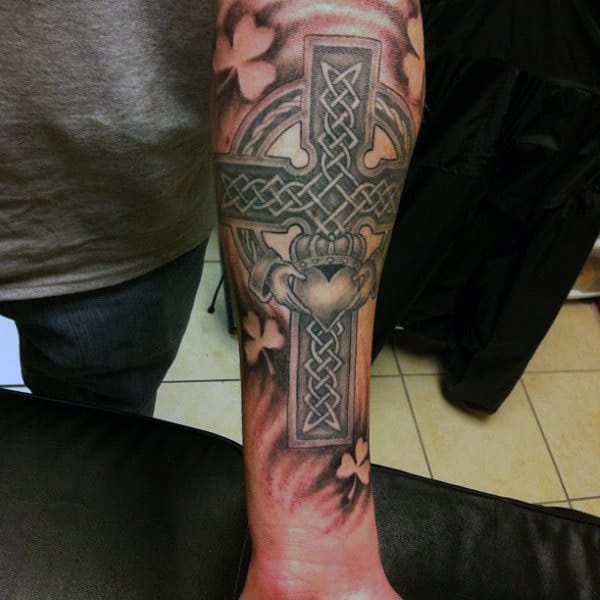 Forearm Sleeve Mens Celtic Cross Claddagh Tattoo
