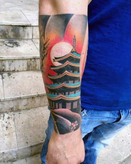 Forearm Sleeve Mens Cool Pagoda Tattoo Design Inspiration