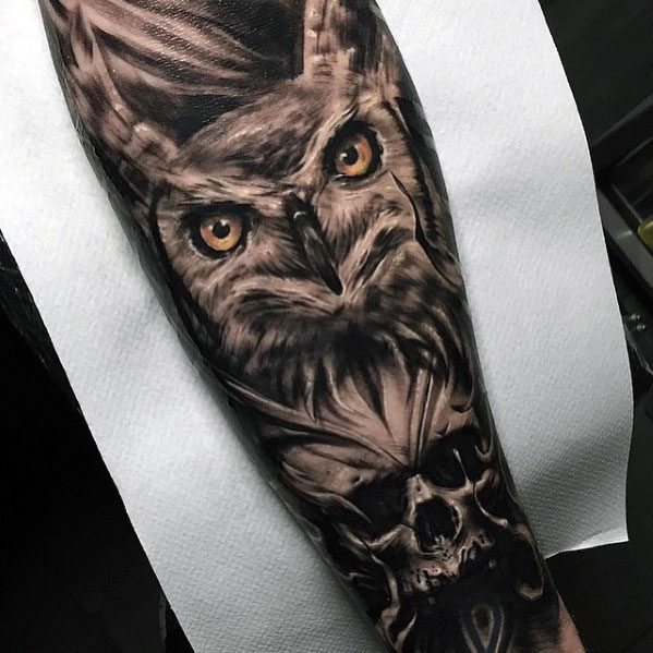 Forearm Sleeve Mens Owl Skull Tattoo Design Ideas