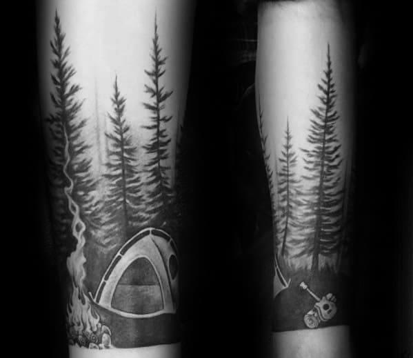 Forearm Sleeve Mens Tattoo Ideas With Tent Design
