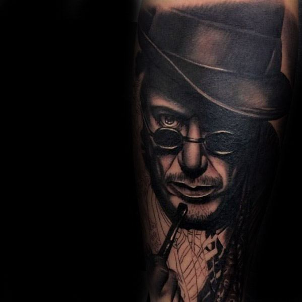 Forearm Sleeve Mens Tattoo With Sherlock Holmes Portrait 3d Design