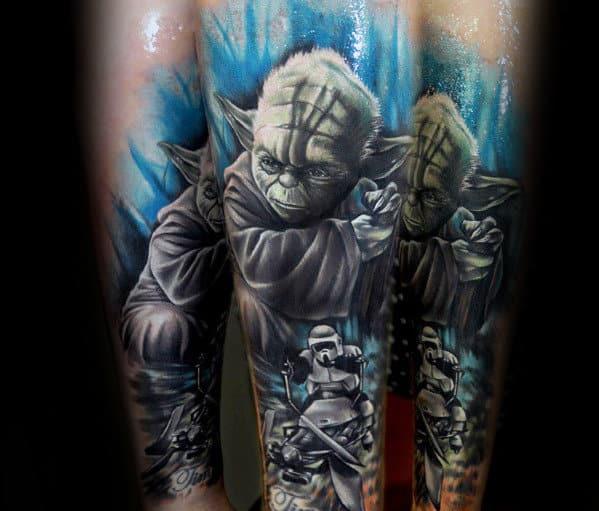 Forearm Sleeve Mens Watercolor Background Yoda Tattoo Ideas