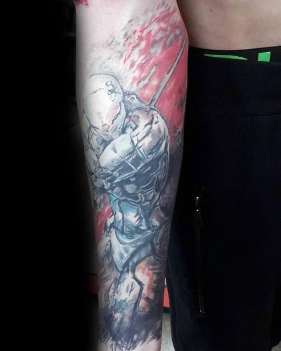 Forearm Sleeve Metal Gear Male Tattoo Ideas