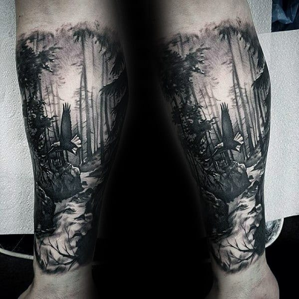 Forearm Sleeve Nature Forest With Flying Eagle Incredible Tattoo Ideas On Guys