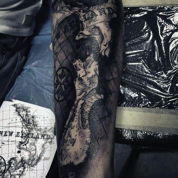 Forearm Sleeve New Zeland Map Tattoo For Men