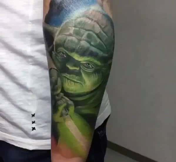 Forearm Sleeve Of Yoda Holding Light Saber Mens Tattoo