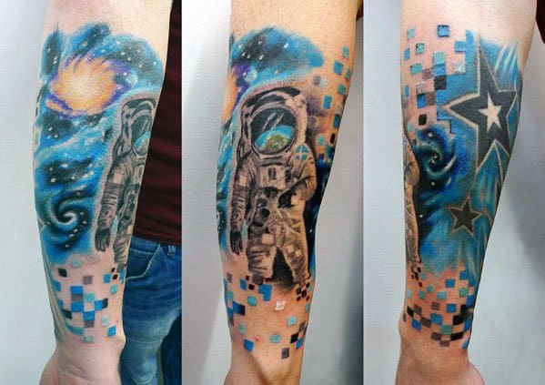 Forearm Sleeve Outer Space Astronaut Pixel Guys Tattoo Designs