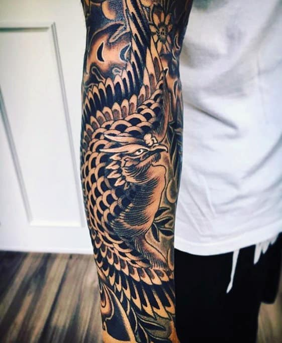 Forearm Sleeve Phoenix Japanese Tattoos For Males